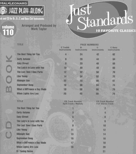 Jazz Play Along 110 - JUST STANDARDS + CD
