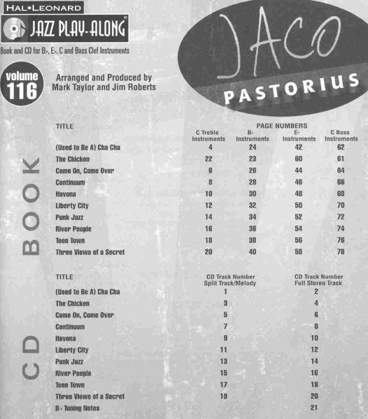 Jazz Play Along 116 -  Jaco Pastorius + CD