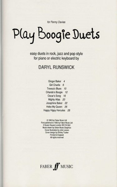 PLAY BOOGIE DUETS by Daryl Runswick  piano duets