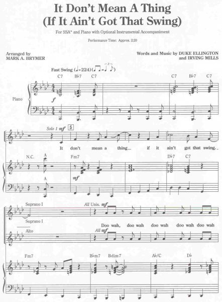 Hal Leonard Corporation It Dont Mean A Thing Ssa Pianochords