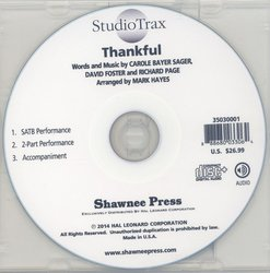 Thankful (arr. Hayes) - Studiotrax CD