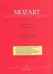 Mozart: Concerto in G major No.3, KV 216 for Violin and Orchestra (piano reduction)
