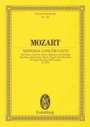 MOZART - SINFONIA CONCERTANTE Es-DUR, K 297b for oboe, clarinet, horn, basson and strings / partitura